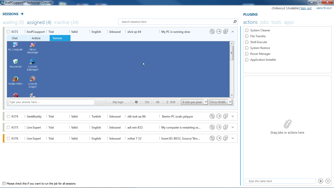 Geekbuddy - Remote desktop console mode ...